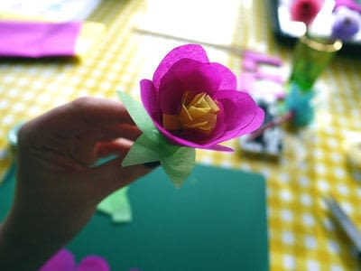 How to make a paper flower. Tissue Paper Flowers - Step 20