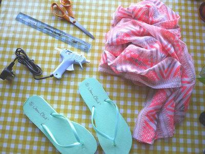 How to make a sandal / flip flop. Repurposed Scarf Flip Flops - Step 1