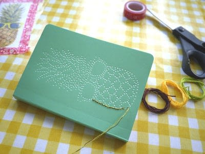How to make a notebook journal. Embroidered Notebooks - Step 9