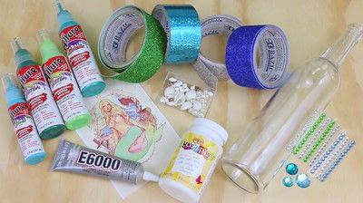 How to make a piece of seasonal decor. Mermaid Bottles - Step 2