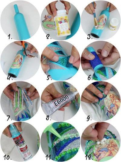 How to make a piece of seasonal decor. Mermaid Bottles - Step 3
