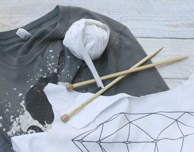 How to make a dish cloth or scrubber. Cloths Knitted From Recycled Tees - Step 2