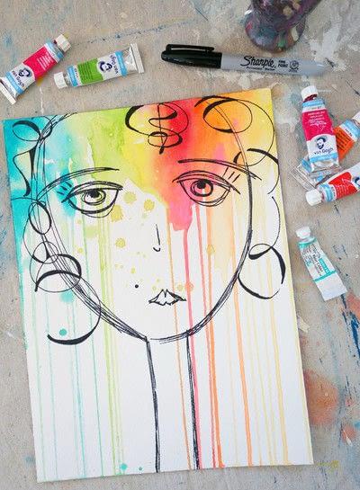 How to paint a piece of watercolor art. Watercolor & Pen Portrait - Step 3