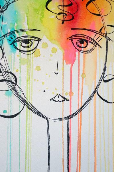 How to paint a piece of watercolor art. Watercolor & Pen Portrait - Step 4