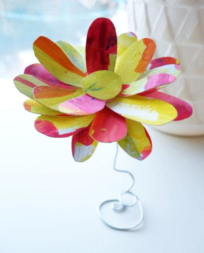 How to make a paper flower. Freestanding Watercolor Flower - Step 5
