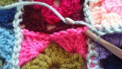 How to crochet a granny square. How To Join With A Double Crochet - Step 16