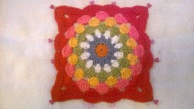 How to crochet a granny square. Robins Nest Square - Step 41