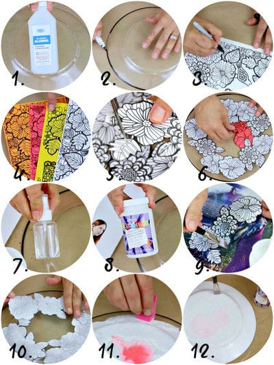How to make a plate. Adult Coloring Book Dishes - Step 3
