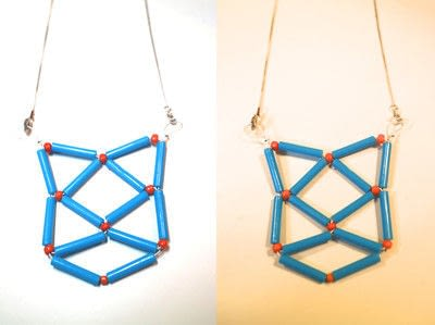 How to make a woven bead necklace. Geometric Cat Necklace - Step 17