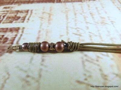 How to make a bracelet. Knotted Leather Spacers - Step 2