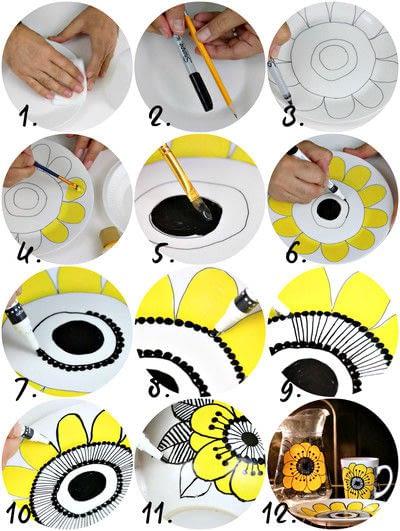 How to make a cup / mug. Vintage Marimekko Dishes Diy - Step 3