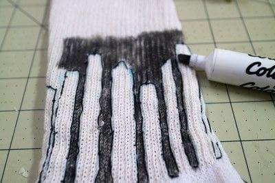 How to make a sock. Glow In The Dark Skyline Socks - Step 5