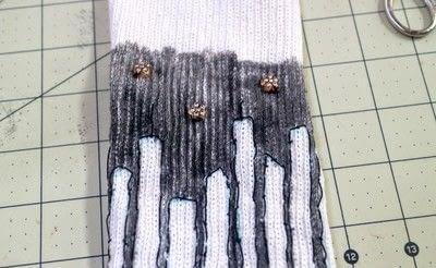 How to make a sock. Glow In The Dark Skyline Socks - Step 7