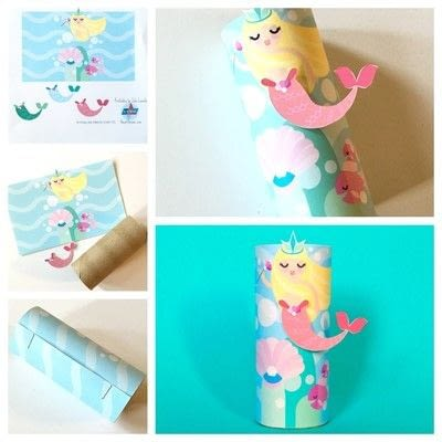 How to make a paper roll model. Mermaid Toilet Tube Craft Printable  - Step 1