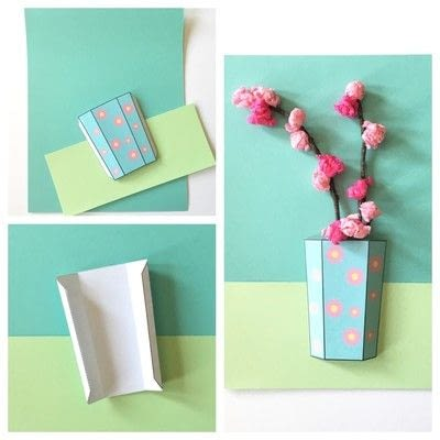 How to make a 3D greetings card. Flower Vase Printable - Step 1