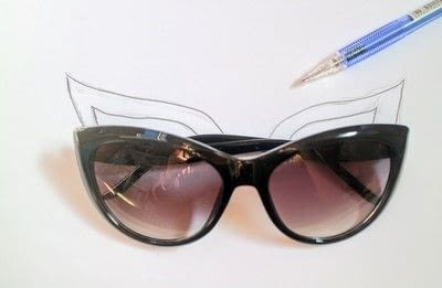 How to make a pair of sunglasses. Cat Eye Sunglasses - Step 2