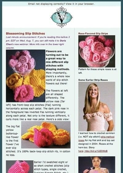 How to make a flowers & rosettes. Slip Stitch Strip Roses - Step 4