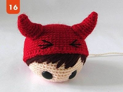 How to make a devil plushie. The Little Red Devil - Step 10
