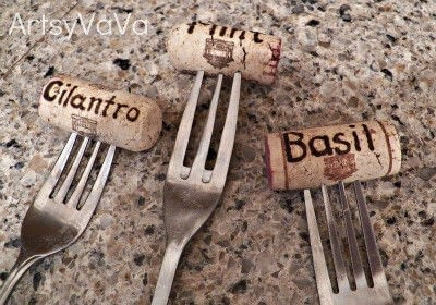 How to make a plant marker. Fork & Cork Plant Markers - Step 2