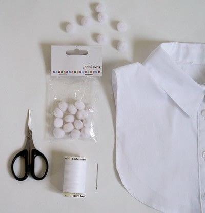 How to make a shirt collar. Pom Pom Collar - Step 1