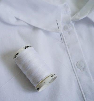 How to make a shirt collar. Pom Pom Collar - Step 2