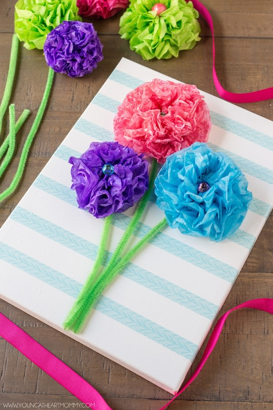 Tissue paper flower bouquet canvas how to make wall decor tissue paper flower bouquet canvas step 6 mightylinksfo