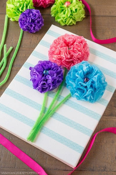 How to make wall decor. Tissue Paper Flower Bouquet Canvas - Step 6