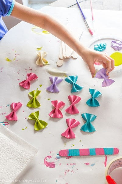 How to make a bookmark. Bow Tie Pasta Butterfly Bookmarks - Step 3