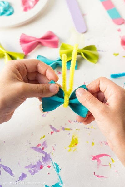How to make a bookmark. Bow Tie Pasta Butterfly Bookmarks - Step 5