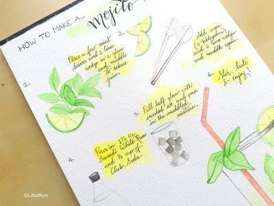 How to paint a piece of watercolor art. Recipe Illustration : How To Make A Cocktail - Step 6
