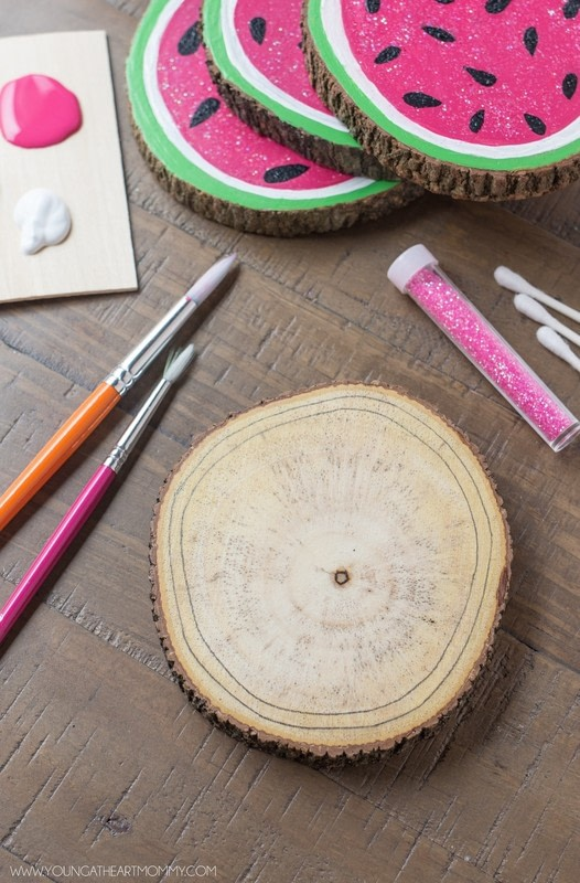 Wooden Watermelon Coasters 183 How To Paint A Painted
