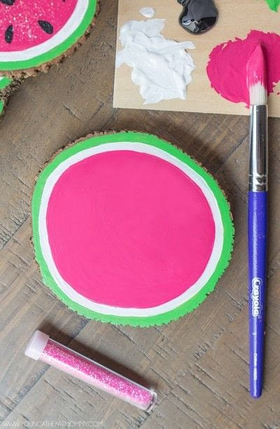 How to paint a painted coaster. Wooden Watermelon Coasters - Step 6