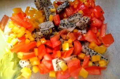 How to make a salsa dip. Dragonfruit Salsa - Step 2