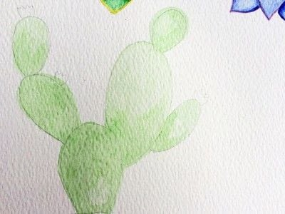 How to paint a piece of watercolor art. Watercolor Succulent Tutorial - Step 2
