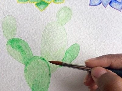 How to paint a piece of watercolor art. Watercolor Succulent Tutorial - Step 3