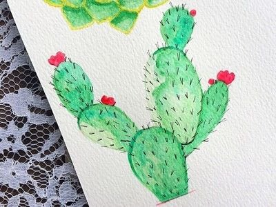 How to paint a piece of watercolor art. Watercolor Succulent Tutorial - Step 4