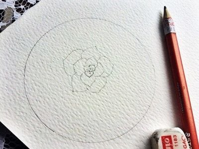 How to paint a piece of watercolor art. Watercolor Succulent Tutorial - Step 6