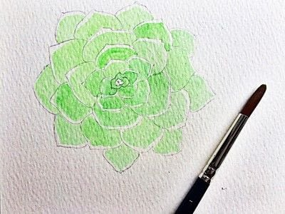 How to paint a piece of watercolor art. Watercolor Succulent Tutorial - Step 7