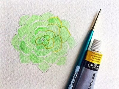 How to paint a piece of watercolor art. Watercolor Succulent Tutorial - Step 8