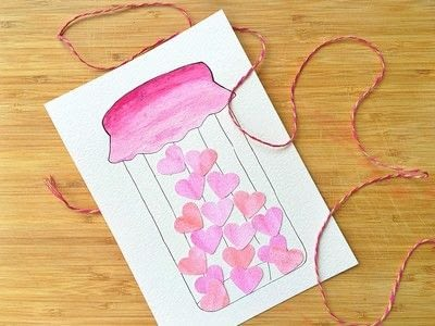 How to paint a piece of watercolor art. Jar Of Hearts Handmade Card Tutorial  - Step 4