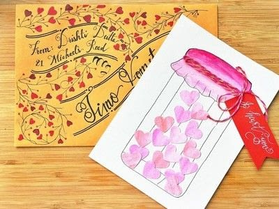 How to paint a piece of watercolor art. Jar Of Hearts Handmade Card Tutorial  - Step 7