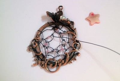 How to make a dream catcher pendant. Fairy Catcher Necklace - Step 8