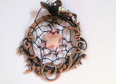 How to make a dream catcher pendant. Fairy Catcher Necklace - Step 9