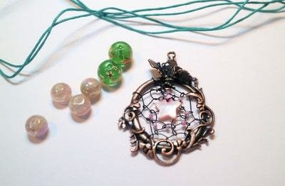 How to make a dream catcher pendant. Fairy Catcher Necklace - Step 10