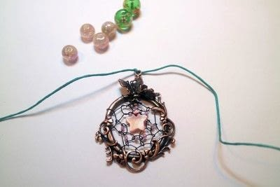 How to make a dream catcher pendant. Fairy Catcher Necklace - Step 11