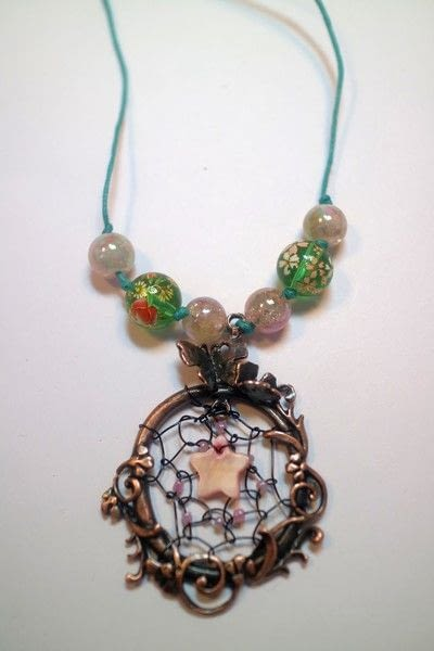 How to make a dream catcher pendant. Fairy Catcher Necklace - Step 12