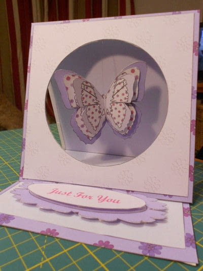 How to make a greetings card. Butterfly Hanging Easel Card - Step 9