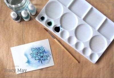 How to paint a watercolor card. Layered Letters Watercolour Card - Step 2