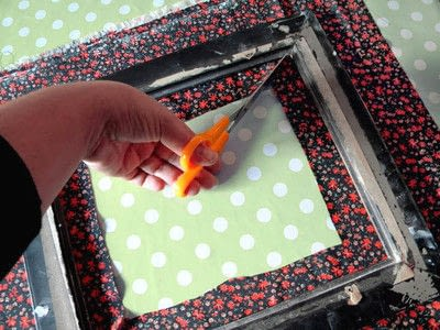 How to make a table mirror. Mirror Revamp   Fabric Covered Frame - Step 2