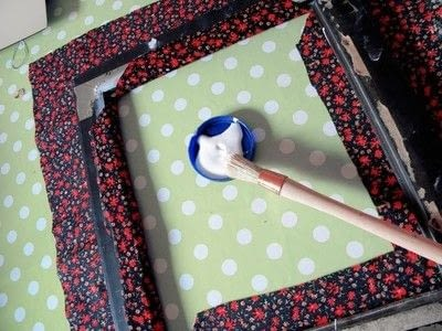 How to make a table mirror. Mirror Revamp   Fabric Covered Frame - Step 3